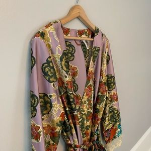 Anthropologie Women's Robe with Lace Detail